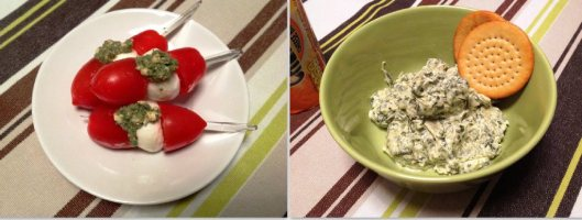 mozzarella and cherry tomato kebabs and spinach artichoke dip