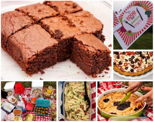 picnic shots of brownies, savoury tart, pasta salad and cherry pie